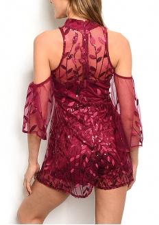 Cold Shoulder All Over Mesh Lace Romper - Burgandy