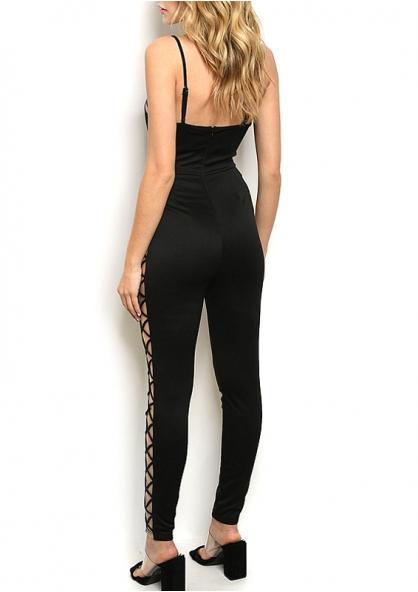 Sleeveless V-neck Lace Up Detail Jumpsuit - Black