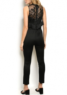 Sleeveless High Neckline Fringed Jumpsuit - Black