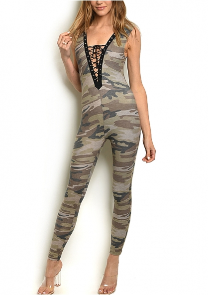 Camouflage Sleeveless Plunge Skinny Jumpsuit