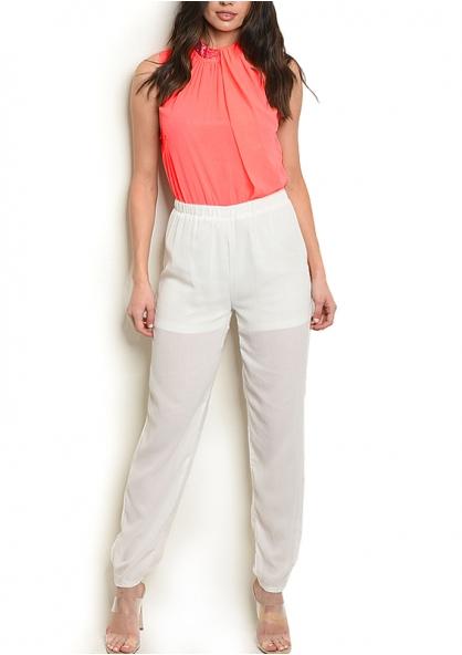 Sleeveless Jeweled Neck Jumpsuit - Fluor Orange / Off White