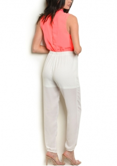 Sleeveless Jeweled Neck Jumpsuit - Fluor Orange / Off White