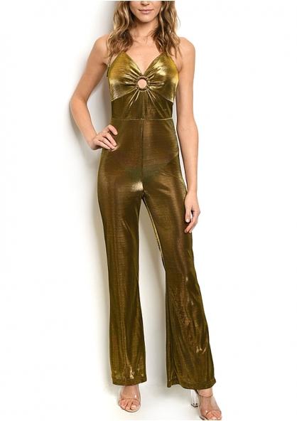 Sleeveless V-neck all Over Metallic Jumpsuit - Golden
