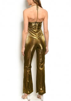 Sleeveless V-neck all Over Metallic Jumpsuit - Golden