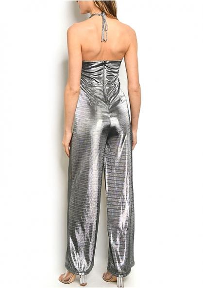 Sleeveless V-neck all Over Metallic Jumpsuit - Silver