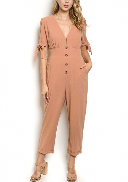 Short Sleeve V-neck Jumpsuit - Blush