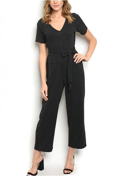Short sleeve V-neck Cropped Jumpsuit - Black