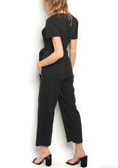 Short sleeve V-neck Cropped Jumpsuit - Black