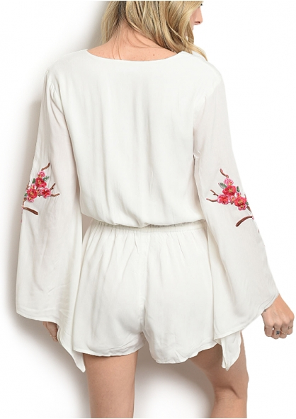 Embroidered Flare Sleeve Romper - White