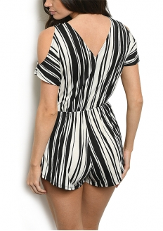 Striped Cold Shoulder Romper - Black