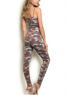 Camo Crop Top and leggig Set - Brown