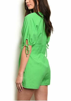 Short Sleeve V-neck Button Front Romper - Green