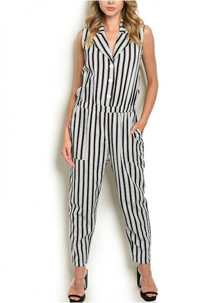 Stripped Sleeveless Gartered Waist Jumpsuit - White  / Black