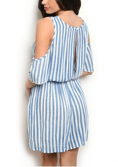 Striped Cold Short Sleeve Romper - Blue