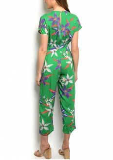 Floral Print Short Sleeve Jumpsuit - Green