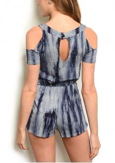 Tie Dye Print Cold Sleeve Romper - Navy