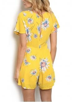 Floral Print Short Sleeve Romper - Yellow
