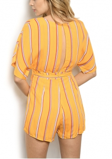 Striped Short Sleeve Romper - Yellow