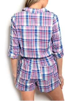 Plaid Roll-up Long Sleeve Romper - Blue