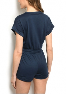 Crossover V-neck Sweat Romper - Navy