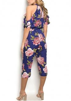 Floral Print Cold Sleeve Romper - Violet