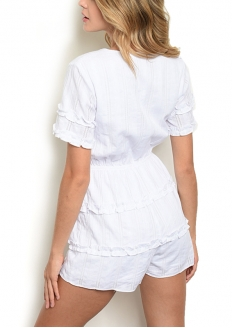 V-neck Short Sleeve Romper - White
