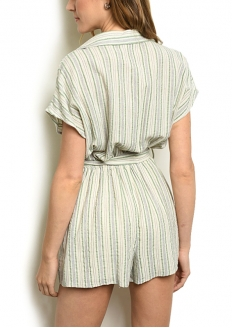 Striped Short Sleeve Romper - Natural