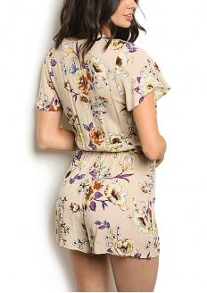 Floral Print Short Sleeve Romper - Beige