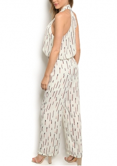 Printed Sleeveless Jumpsuit - Ivory