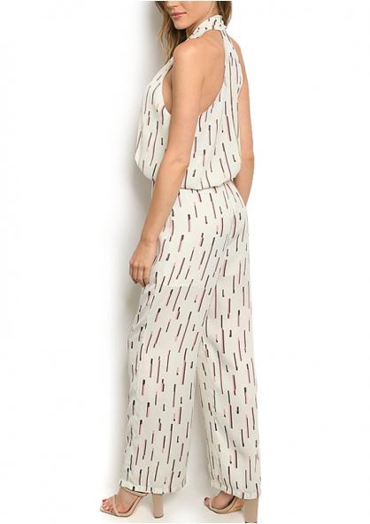 Printed Sleeveless Jumpsuit - Ivory