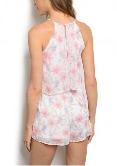 Floral Print Sleeveless Romper - White