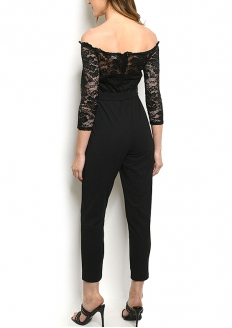 Off Shoulder Lace Overlay Jumpsuit - Black