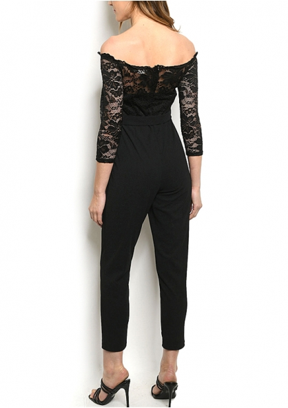 Off Shoulder Lace Overlay Jumpsuit - Black