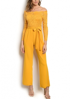Off Shoulder Lace Overlay Jumpsuit - Yellow