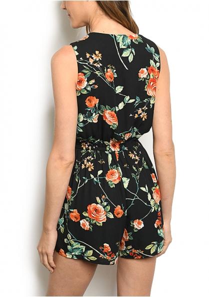 Floral Print Sleeveless Romper - Black