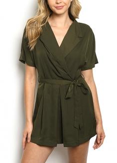 Short sleeve V-neck Romper - Olive