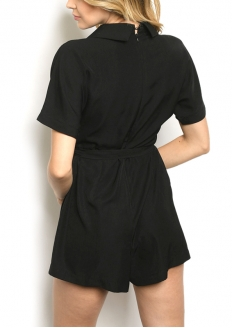 Short sleeve V-neck Romper - Black