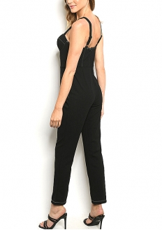 Sweetheart Neck Sew Stitch Detail Jumpsuit - Black