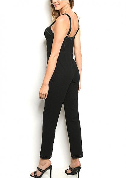 Sweetheart Neck Sew Stitch Detail Jumpsuit - Black