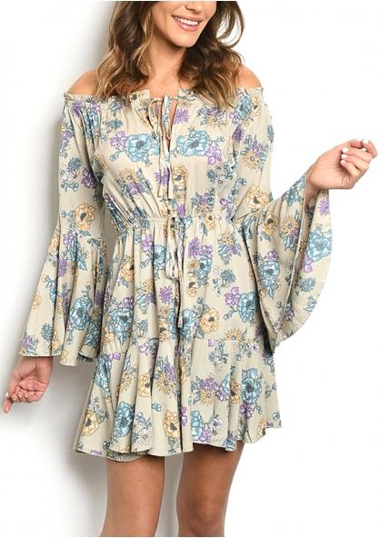 Long Flare Sleeve Off-shoulder Floral Dress - Kahki