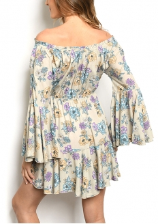 Long Flare Sleeve Off-shoulder Floral Dress - Kahki