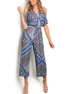 Cold Shoulder Printed Jumpsuit - Blue