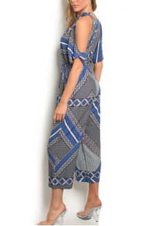 Cold Shoulder Printed Jumpsuit - Blue