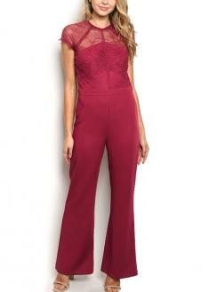 Short Sleeve Lace Flare Jumpsuit - Burgandy
