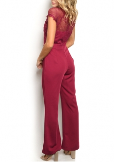 Short Sleeve Lace Flare Jumpsuit - Burgandy