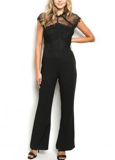 Short Sleeve Lace Flare Jumpsuit - Black