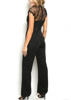 Short Sleeve Lace Flare Jumpsuit - Black