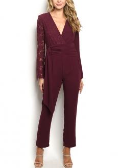 Long Sleeve Lace Detail Jumpsuit - Burgandy