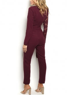 Long Sleeve Lace Detail Jumpsuit - Burgandy