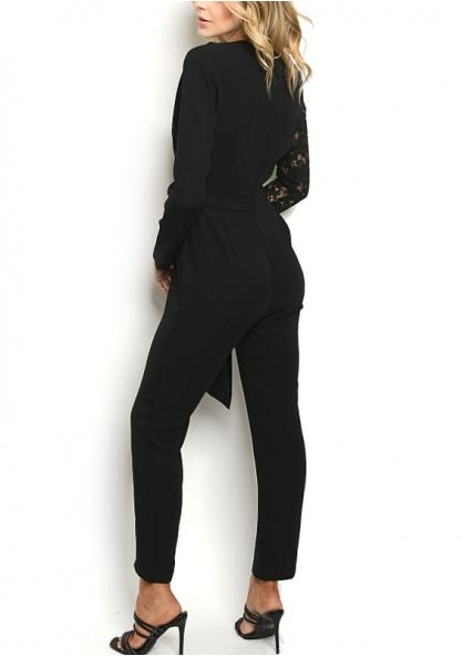Long Sleeve Lace Detail Jumpsuit - Black